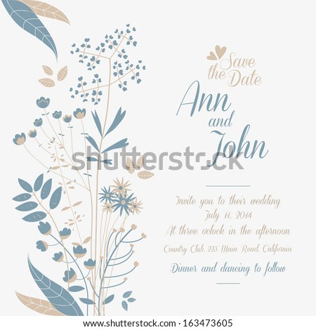 Wedding invitation, wild flowers - stock vector