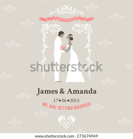 Wedding invitation with bride and groom. Elegant vintage style. - stock vector