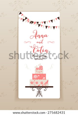 Wedding invitation with cake. Elegant wedding design for  leaflet, cards, invitation and so on. Place for text. - stock vector