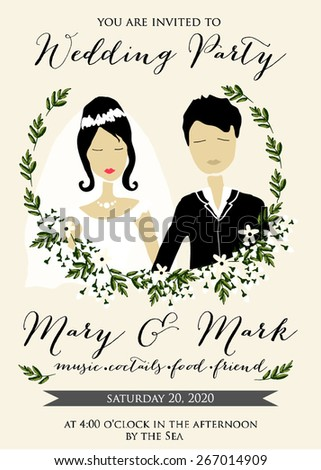 Wedding invitation with cartoon couple groom and bride in retro style