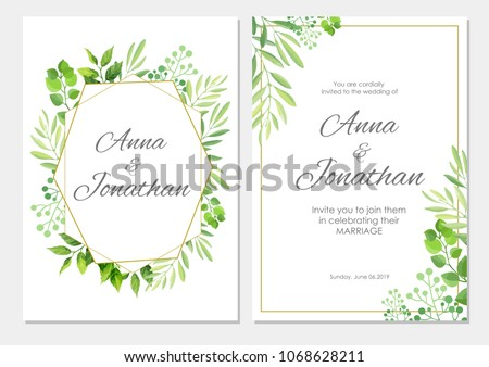 Wedding invitation green leaves border floral stock vector royalty wedding invitation with green leaves border floral invite modern card template set vector illustration stopboris Image collections