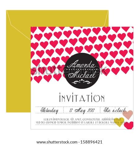Wedding invitation with hearts - stock vector