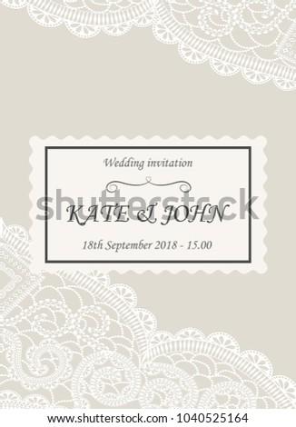 Wedding invitation lace vector illustration stock vector 2018 wedding invitation with lace vector illustration stopboris Images