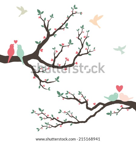Wedding Invitation with love bird - stock vector