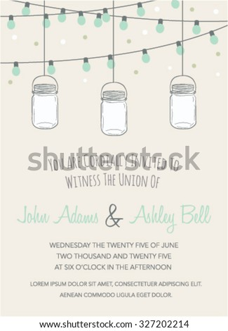 Wedding Invitation With Mason Jar And String Lights