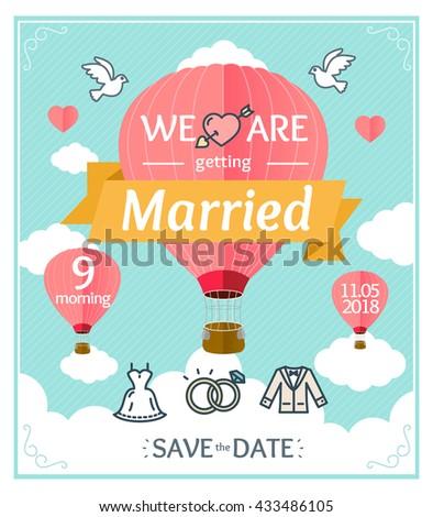 Wedding Invitation with Pink Balloon. Vector illustration - stock vector