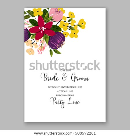 Wedding invitation with romantic floral wreath or bridal bouquet of poinsettia peony and daisy