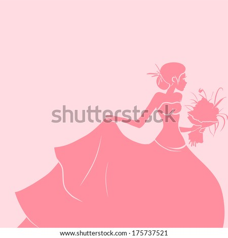 Wedding invitation with silhouette of young pretty bride