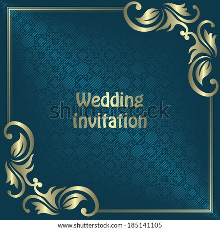 Wedding invitation with vintage frame. Vintage seamless background, striped background                       - stock vector