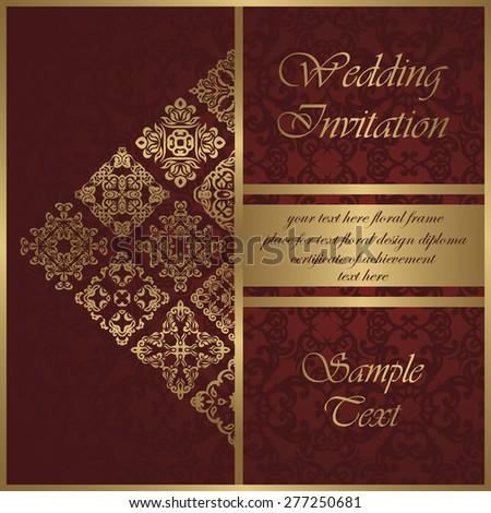Wedding invitation with vintage pattern. Original decoration. Beauty card, modern invitation                           - stock vector