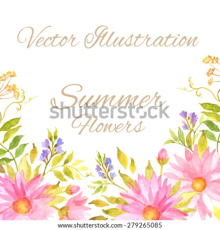 Wedding invitation with watercolor flowers. Birthday card. Floral background. Floral decorative frame.