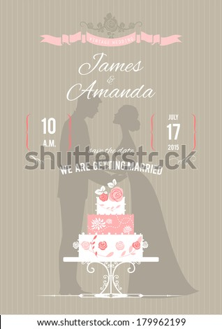 Wedding invitation with wedding cake. Vector illustration  - stock vector