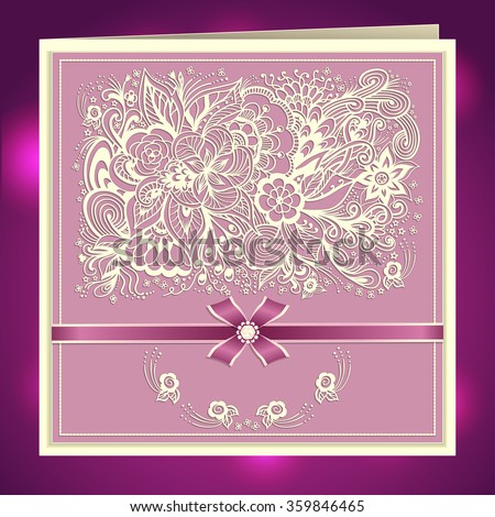Wedding invitation with Zen-doodle flowers bow ribbon rhinestones in lilac pink colors  or   Creative Post Card - stock vector