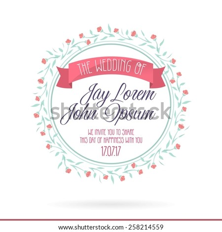 Wedding Invitation Cards Set Flowers Thank Vector 258214622 – Invitations Card