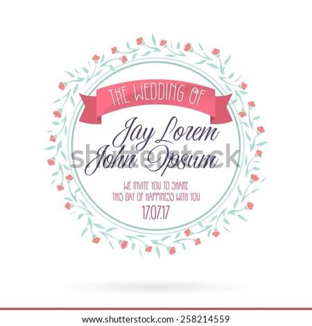 Wedding Invitation Cards Set Flowers Thank Vector 258214622 – Invitations Card