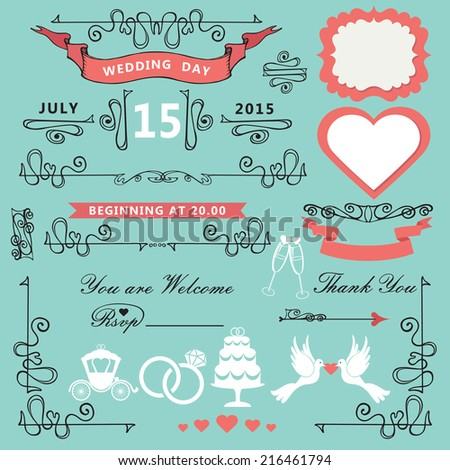 Wedding Invitations Design Template Set Swirling Decor Stock Vector