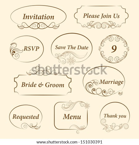 Wedding invitations or announcements with floral decorative artwork.  - stock vector