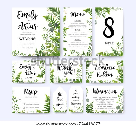 Wedding Invite Invitation Menu Rsvp Thank Stock Vector