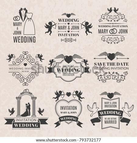 Wedding labels set victorian style monochrome stock vector hd wedding labels set in victorian style monochrome pictures set for badges or logos wedding stopboris Images
