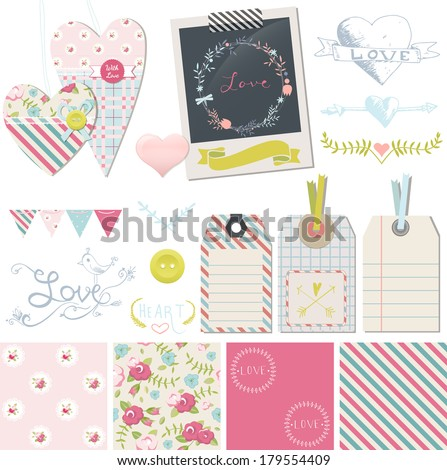 Wedding / love / romance  design elements collection. Vector set with shabby chic seamless pattern, fabric hearts, photo frame and gift tags - stock vector