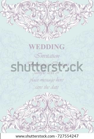 Wedding luxury invitation card vector royal stock vector 727554247 wedding luxury invitation card vector royal victorian pattern ornament rich rococo background stopboris Gallery
