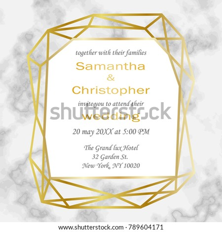Wedding luxury invitation card gold geometric stock vector hd wedding luxury invitation card with gold geometric frame on marble background fashion greeting invite stopboris Choice Image