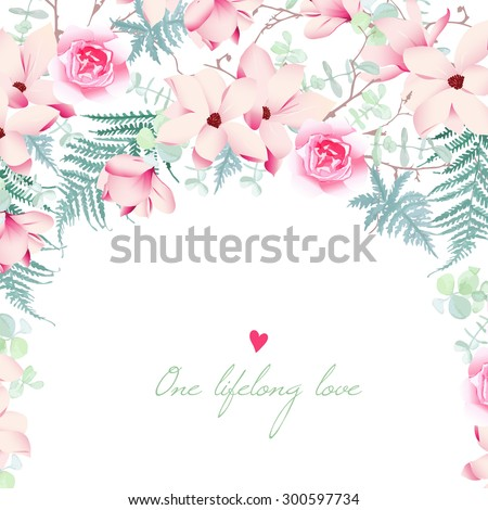 Wedding Magnolia Rose Flowers Vector Card Stock Vector 300597734 ...