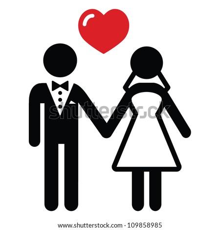 Wedding married couple icon - stock vector