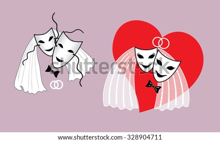 Wedding mask the bride and groom with a heart - stock vector