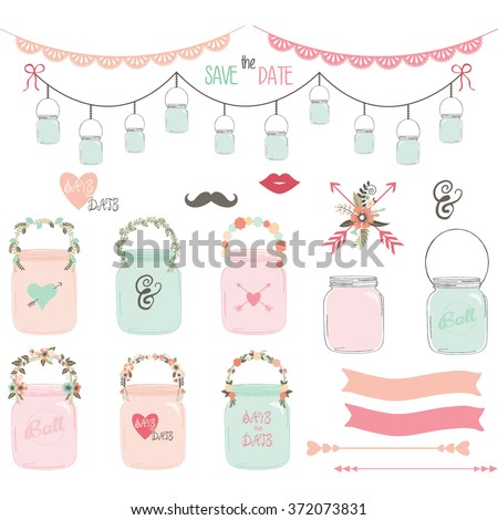 Wedding Mason Jar Collections.Wedding floral,Retro Jar,Lace Border,Arrow,Floral,Banner. - stock vector