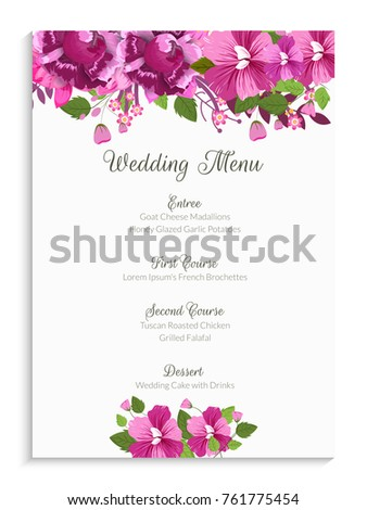 Wedding menu card design decorated pink stock vector 761775454 wedding menu card design decorated with pink flowers mightylinksfo