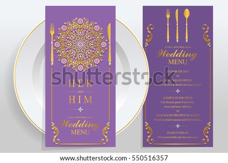 wedding menu card templates gold patterned stock vector 550516357
