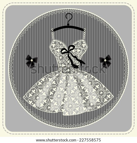 Wedding or festive dress with lace. dress for dancing - stock vector