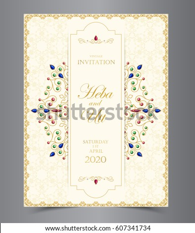 Wedding invitation card vintage style crystals em vetor stock wedding invitation card vintage style crystals em vetor stock 607341734 shutterstock stopboris Choice Image