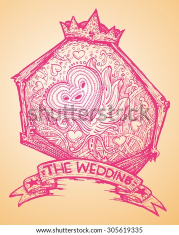 wedding ornament with love icon hand draw illustration - stock vector