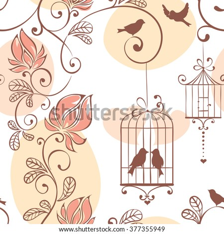 Wedding pattern, vector illustration with flowers and birds