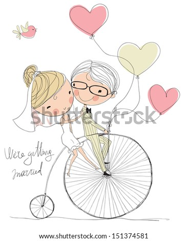 wedding picture, bride and groom ride bikes - stock vector