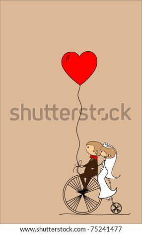 wedding picture, bride and groom ride bikes, vector - stock vector
