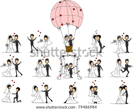 Wedding pictures, love the bride and groom - stock vector