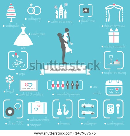 Wedding Planner Icons and Infographics  - stock vector