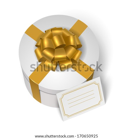 Wedding present box with yellow ribbon, bow and blank greeting card isolated vector illustration - stock vector