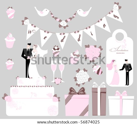 wedding presents, big tasty cake, glasses with wine, bride and groom, invitation, birds with flowers, bouquets. - stock vector