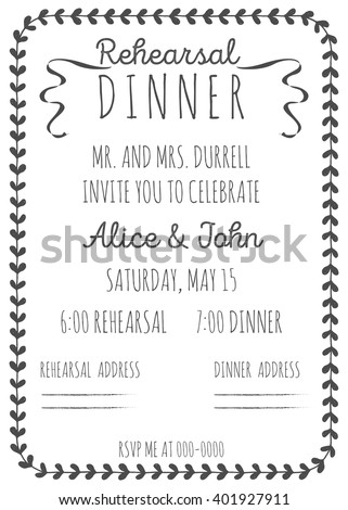 Wedding Rehearsal dinner invitation template. Hand-drawn graphics.
