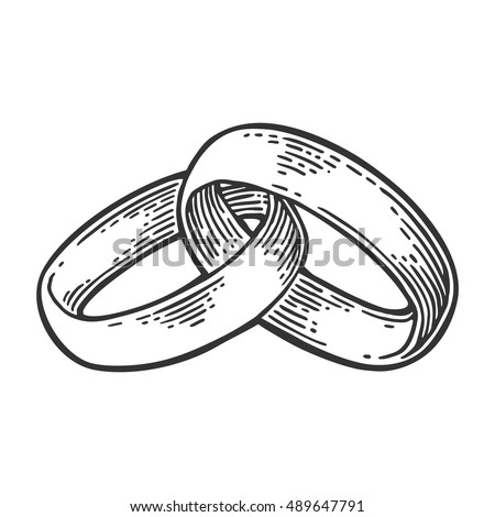 Wedding Rings Hand Drawn Graphic Style Stock Vector 2018 489647791