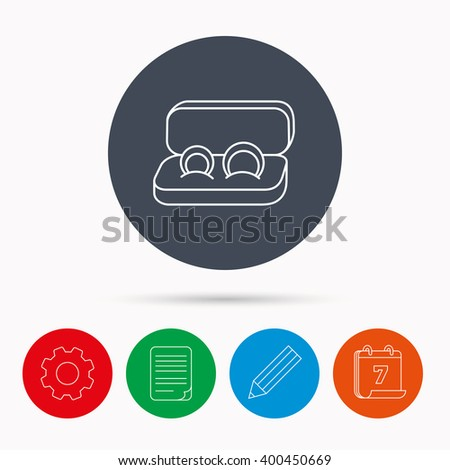 Wedding rings icon. Jewelry sign. Marriage symbol. Calendar, cogwheel, document file and pencil icons. - stock vector