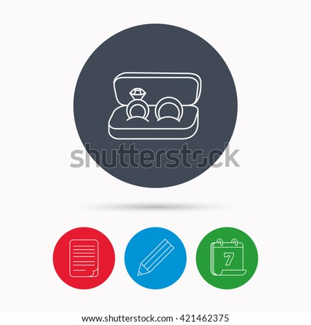 Wedding rings icon. Jewelry with diamond sign. Marriage symbol. Calendar, pencil or edit and document file signs. Vector - stock vector