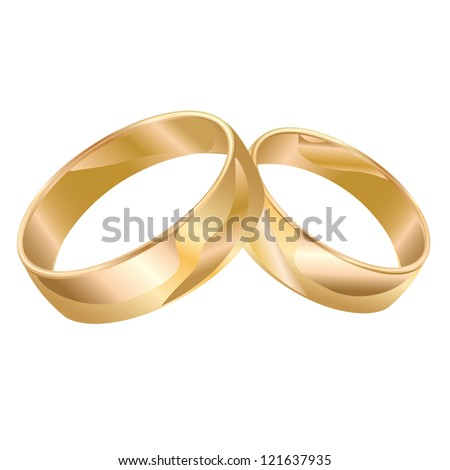 Wedding rings isolated on white background. Vector illustration