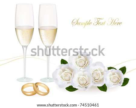 Wedding rings, roses bouquet and champagne. Vector illustration. - stock vector
