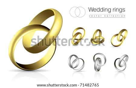 Wedding rings vector collection isolated on white background with shadow and reflection - stock vector