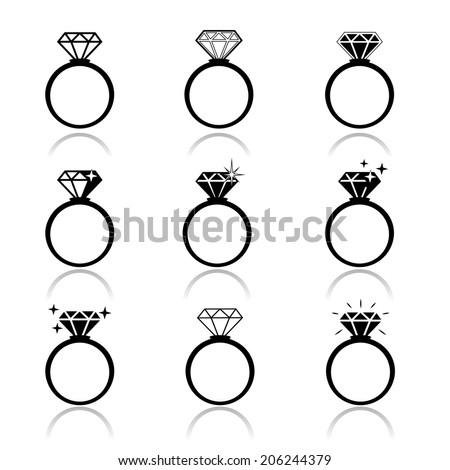 Wedding rings vector icon. Wedding invitation. Jewelry - stock vector